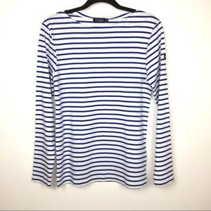 Le Phase Blue And White Striped Long Sleeve Top